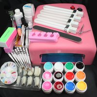 herramientas etc Pro 36 W UV GEL Pink Lamp 12 Color UV Gel Práctica Dedos Cutter Nail Art DIY Tool Kits Conjuntos # 23set