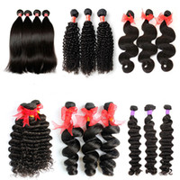 Wholesale chinese remy kinky straight hair resale online - 8A Brazilian Virgin Human Hair Weaves Bundles Peruvian Malaysian Indian Cambodian Body Wave Straight Loose Deep Kinky Curly Mink Remy Hair