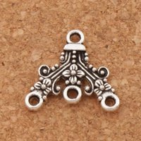Wholesale Wholesale Flowers Bug - Dots Flower Dots Bug Triangle Charm 5-Strand Spacer End Connector 150pcs lot 18x16.7mm Antique Silver Fit Tassel Earrings L1240