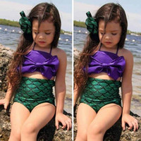 Wholesale Kids Swimwear For Girls - Cute Children Kids Mermaid COSPLAY Halter Bikini Swimwear For Girls With High Waist Fish Scale Bottom Bathing Toddler Bow Swimsuit