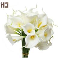 flores artificiales calla al por mayor-Calla lily 2015 flor artificial PU toque real decoración del hogar flores 30 unids / lote ramo de boda XZ014 flores decorativas