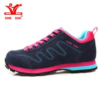 Wildleder Echtes Leder Atmungsaktiv Kaufen -XIANGGUAN Laufschuhe echtes Leder Kuh Schuhe Frauen Sport Breathable Jogging Walking Dame Trainer Wildleder Sneakers GRÖSSE 36-39