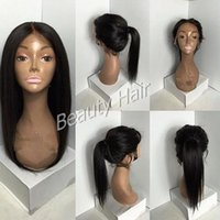Wholesale Medium Length Straight Hair Wigs - 2016 Lace wigs medium length full lace wigs lace front wigs with baby hair straight wig