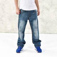 Wholesale Harem Pants Men American Sizes - Wholesale-Mens Hip Hop Baggy Jeans Fashion Loose Fit Harem Denim Pants Distressed Skateboard Denim pants B1167