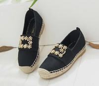 Wholesale denim diamonds shoes - In the autumn of 2017 new square diamond fisherman shoes retro flat bottomed leather loafer thick straw shoes free shipping