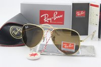 Wholesale Reflective Lenses - 1pcs Ray brand designer BANS BENS sunglasses men and women and ladies gold frame 58mm glass lens pilots anti-reflective driving sunglasses