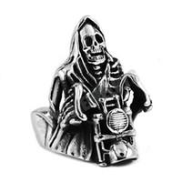 motor bisikletçisi yüzükleri toptan satış-Ücretsiz kargo! Grim Reaper Kafatası Binmek Motosiklet Halka Paslanmaz Çelik Takı Vintage Kafatası Motor Biker Erkek Yüzüğü SWR0446 B