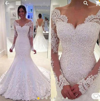 Wholesale Cap Sleeve Satin Wedding Dresses - 2017 Country Wedding Dresses Off the Shoulder Long Sleeves Mermaid Backless Bridal Gowns Lace Appliques wedding party occasion