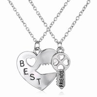 Wholesale Innovation Day - New Innovation Silver plating Jewelry Peach Heart Key Necklaces & Pendants Best Friends Brothers girlfriends Set Necklaces Open Heart Gift