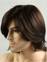 Wholesale Man Natural Long Hair Wigs - Free shipping New High Quality Fashion Picture Indian Mongolian wigs>>Fashion sexy Men's man Medium long Dark Brown Cosplay Natural Hair Wig