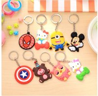 Wholesale Wholesale Crystal Bears - Lovely Animal Cartoon Bear Mickey Minnie Spiderman Hello Kitty Silicone Key ring Keychain Backpack Accessories Key chains