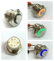 Wholesale Stainless Momentary Switch - Wholesale-ONPOW 16mm 6V RGB Momentary ring LED High round Stainless steel Push button switch (GQ16H-10E J 42RGB 6V S) CE,ROHS