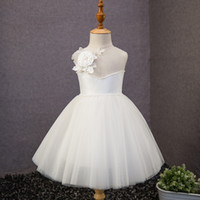 Günstige White Short Flower Girls Kleider für Hochzeiten 3D-Floral Illusion Sheer Jewel Tüll Puffy Ballkleid für Kinder 2018 First Communion Dress