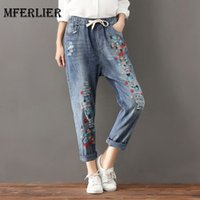 Wholesale Distressed Women Jeans - Mori Girl Autumn Artsy Jean Femme Bow Elastic Waist Distressed Denim Jeans Womens Embroidery Harem Jeans Plus Size