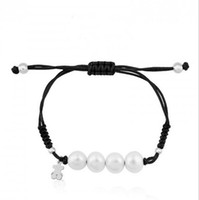 Wholesale Handmade Stainless Steel Jewelry - Hot Panda style Stainless Steel Charms of pearls charms macrame handmade Jewelry women gift bracelet adjustable size