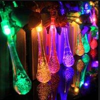 Wholesale Patio Decor - Clear Water Drop String Lights 4.8m 20 LED Solar Powered LED 3D Wedding Patio Yard Decor OOA3131