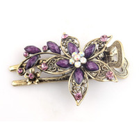 Wholesale Fashion Jewelry Deals - Wholesale-Best Deal New Fashion Vintage Jewelry Flowers Crystal Hair Clips Hairpins For Hair Accessorries Jewelry Gift 1PC