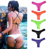Wholesale Brazilian Bikini Bottoms Wholesale - Women's Sexy Swimming Trunks Brazilian Style Bikini Swimwear Bathing Suit Semi Tanga Thong Bottom With Drape