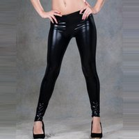 Wholesale Sexy Girls Tight Wear - Women Jegging Tight Pants Faux Leather Leggings Stretchy Soft Comfortable Trousers Sexy Girls PU Best Tight Leg wear Shiny Tights 2pcs l