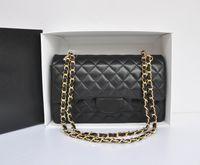 Wholesale Double Shoulder Handbag - Fab Price Medium 25.5cm Classic Quilted Womens Black Genuine Lambskin Leather Plaid Double Flaps Shoulder Bag Chain Handbag Gold Hardware