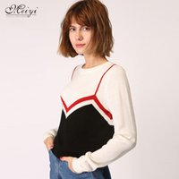 Wholesale Piece Free Computer - Women's Sweaters 2017 Autumn new women sweater blouse fake Two-piece T-head hit-color striped female knit sweater