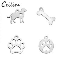 Wholesale Wholesale Letter Charms Bulk - New Arrivals Minimalist Animal Metal Dog Charm Bone Bear Footprints Charms With Letter Love Pendants Jewelry Making Supplies Bulk Charms