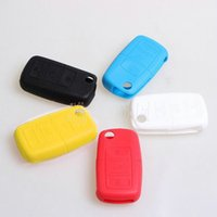 Wholesale Vw Remote Key Cover - Silicone Remote Flip Key FOB Holder 3 Buttons Silicone Case Cover For VW Volkswagen New