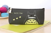Cartoon Miyazaki Totoro Pencil Bags Atacado Kids Kids Pen Bags PU impermeável Stationery Bags Promoção Xmas Gift for Boys WD465AA
