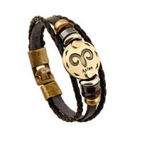 Wholesale Vintage Horoscope - 12 Zodiac Sings Bracelets Fashion Jewelry Leather Bracelets Men Casual Personality Alloy Vintage Punk Bracelet 1176