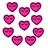 Wholesale Expressions Clothing - 10PCS expression heart-shaped embroidery patches for clothing iron patch for clothes applique sewing accessories on clothes iron on patches
