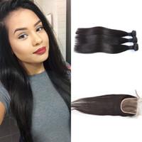 peruvian remy saç paketi toptan satış-Perulu Saç Demetleri ile Kapatma 8-30 inç Çift Atkı İnsan Saç Uzantıları Boyanabilir Remy Bakire Saç Örgü Düz G-KOLAY Ücretsiz Kargo