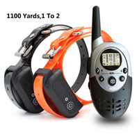 Wholesale electronic remote dog training collar - Dog Training collar with Remote 100% waterproof Rechargeable Electronic Shock Training Anti Bark E-Collar 1100yd Beep Vibration & shock 2dog