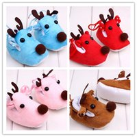 Wholesale Cute Blue Christmas Shoes - Baby Christmas shoes Cute Deer warm shoes prewalers for baby boys girls Newborn Xmas Costume props for 0-1T