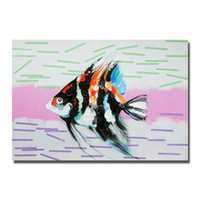 Wholesale Fishing Pictures Free - Free Shipping Home Wall Art Pictures For Living Room Decoration Hand Painted Modern Abstract Fish Oil Painting Canvas Art No Framed