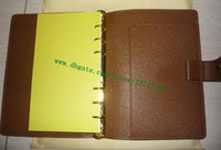 Top Quality Planner Wallet Brown mono Canvas Coated Real Calf Leather MEDIUM RING AGENDA COVER R20105 Comes with 75 pages refills Diary Notebook