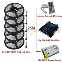 Wholesale Led Strips 25m Ip65 - NEW 25M SMD 5050 Waterproof IP65 RGB LED Strip Light + 1PC IR 44 Keys RGB Controller +1PC 12V 25A 300W Power Supply+DC Connector MYY