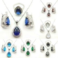 Wholesale Blue Sapphire Gold Necklace - Hot Blue Sapphire fashionable Jewelry Sets For Women 925 Silver Necklace Pendant Earrings Rings Size 7 8 9 Free Jewelry Box