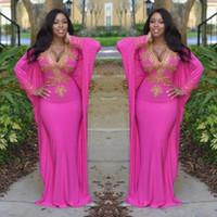 ingrosso vestiti lunghi dal manicotto lungo rosa caldo-2017 Hot Pink marocchino abiti turchi con maniche lunghe scollo a V abiti da sera perline oro arabo Dubai Prom partito abbigliamento donna