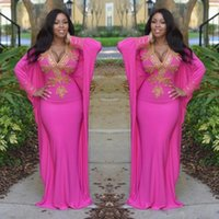 Wholesale Fashion Arabic Clothes - 2017 Hot Pink Moroccan Turkish Dresses with Long Sleeves Deep V Neck Evening Gowns Gold Beads Arabic Dubai Prom Party Clothing Women