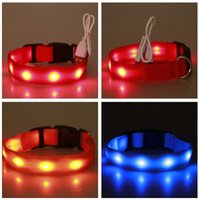Wholesale LED Nylon Pet Dog Collar Night Safety Glow Flashing Dog Cat Collar Led Luminous Small Dogs Collars USB Rechargeable