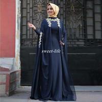 abaya für partei großhandel-Neues Design Arabisch Abendkleider Mode Abaya Dubai Langarm Muslim Party Abendkleider 2016 Kaftan Mutter der Braut Kleider Plus Größe