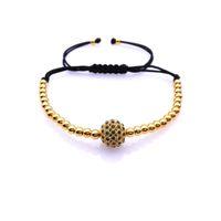 Wholesale Gold Pave Beads Balls - Wholesale-2016 New! Women Bracelets,Micro Pave 18k Rose Gold CZ Balls 4mm Round Beads Braiding Macrame Bracelet For Men and Women gift