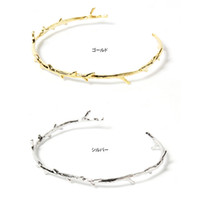 Wholesale Irregular Cuff Bangle - 3D Irregular Branch Design Bangle Cuff Chain Link Optional 18K Silver Concise Simple Lady Plant Bracelet OEM ODM Wholesale Mininum USD50