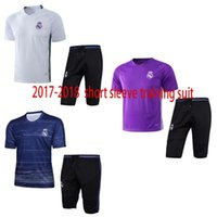 Wholesale quality outerwear - free shipping top quality 17 18 Real short sleeve training suit soccer kit fashion Outerwear Tracksuit football suit Madrid