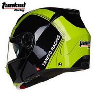 Wholesale Tanked Racing Open Face Helmet - 2016 New Tanked Racing dual lens open face motorcycle helmet male undrape face motorbike racing helmets T270 size M L XL
