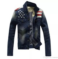 Wholesale vintage mandarin jacket resale online - Men Denim Blue Jacket Stars Printed Winter Autumn Fashion Coats Male Clothing Jackets