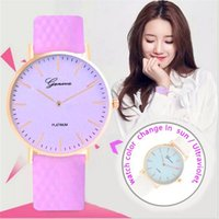 Wholesale Watch Geneva Plastic - Luxury Geneva Change Color Watch Thermochromic PU Leather Quartz Analog Wristwatch Lady Girl Ultraviolet Discoloration Casual Dress Watches