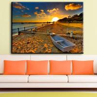 ingrosso pittura di barche art-ZZ1253 moderna decorativa su tela belle immagini su tela di barca spiaggia alba paesaggio marino olio arte pittura per soggiorno art
