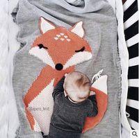 Wholesale Sleep Blankets For Infants - Baby blanket newborn infant cute fox knitting swaddle babies quilt ins boys girls blanket for beach home sleeping bag size 110*70cm T04