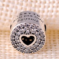 Wholesale Silver Hollow Heart Charm Bracelet - PD 2016 New Arrival 925 Sterling Silver Charms Hollow middle heart pave crystsal friendship Beads women jewelry Fit for Pandora Bracelets